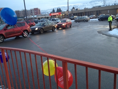RCMP showed up to the North Kamloops Wendy's location to help control the influx of traffic for Dreamlift Day.