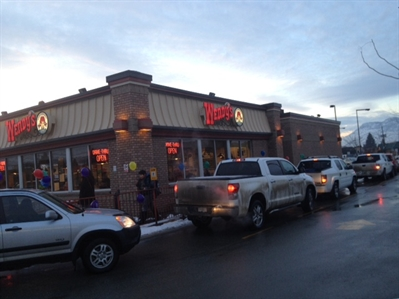 Vehicles lined up around the block at the North Kamloops Wendy's location for Dreamlift Day.