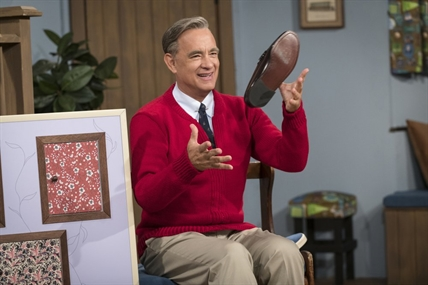 "This image released by Sony Pictures shows Tom Hanks as Mister Rogers in a scene from ""A Beautiful Day In the Neighborhood,"" in theatres on Nov. 22, 2019."