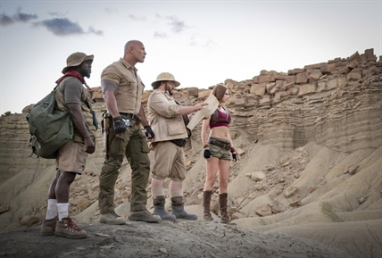 "This image released by Sony shows Kevin Hart, from left, Dwayne Johnson, Jack Black and Karen Gillan in a scene from ""Jumanji: The Next Level."""