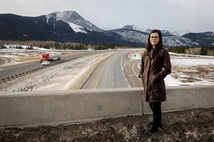 Hilary Young, Alberta senior program manager for the Yellowstone to Yukon Conservation Initiative, looks out over the Trans Canada highway near Canmore, Alta., Wednesday, Dec. 4, 2019.