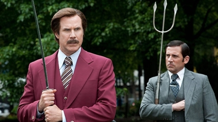 Will Ferrell as Ron Burgundy, left, and Steve Carell as Brick Tamland in 'Anchorman 2: The Legend Continues'