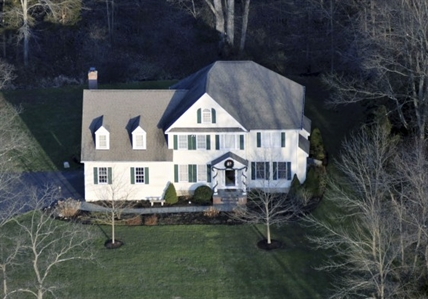 An aerial view of the home where Adam Lanza lived with his mother in Newtown, Conn.