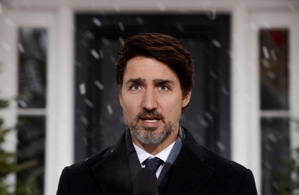 Prime Minister Justin Trudeau addresses Canadians on the COVID-19 pandemic from Rideau Cottage in Ottawa on Thursday, April 9, 2020.