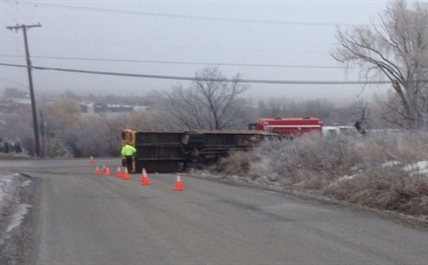 A school bus slid and flipped on Reimer Road in Vernon earlier this morning.