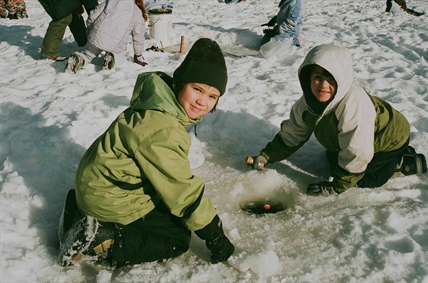 Try out ice fishing at Walloper Lake this weekend.