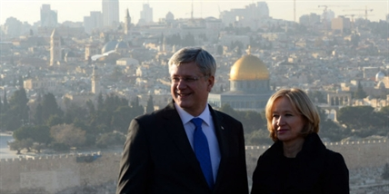 Prime Minister Stephen Harper and wife Laureen visit Mount of Olives in Jerusalem, Israel, on Sunday, January 19, 2014.