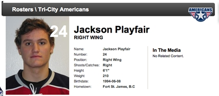 Tri-City Americans right wing Jackson Playfair, 19.