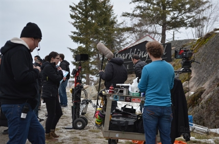 Crews prepare to film the arrival of the movie's leading ladies at the resort.