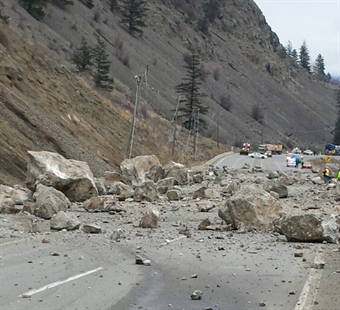 Traffic is still blocked in both directions on Highway 3 according to DriveBC. A rock slide came down the slope and covered the road on Monday.