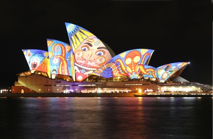 Australia's Sydney Opera House is a popular building to project lighted images. The normal off-white walls are often used as canvas for artist projects.