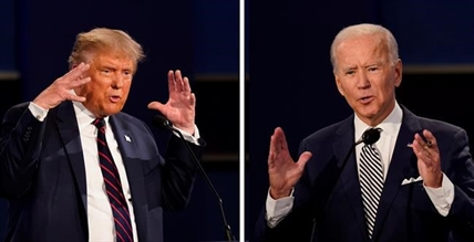 In this combination image of two photos showing both President Donald Trump, left, and former Vice President Joe Biden during the first presidential debate Tuesday, Sept. 29, 2020, at Case Western University and Cleveland Clinic, in Cleveland, Ohio. The first debate pitting Republican President Donald Trump against Democratic challenger Joe Biden was not a highlight of political oratory in the eyes of many overseas. Yet interest ran high for its potential impact on what may be the most consequential U.S. election in years, now just over a month away.