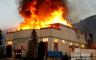 Frank Venables Auditorium while on fire.