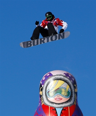 Canada's Mark McMorris takes a jump during the men's snowboard slopestyle semifinal at the Rosa Khutor Extreme Park, at the 2014 Winter Olympics in Krasnaya Polyana, Russia, Saturday, Feb. 8, 2014.