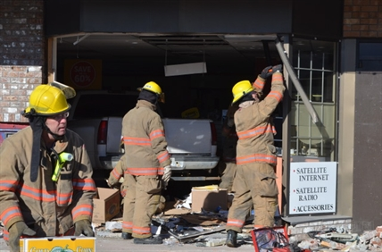 A pick-up truck drove right into The Source in Armstrong in February, taking out the the front of the store.