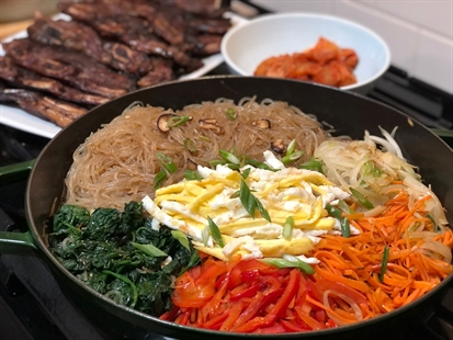 The colours of Japchae are so vibrant and make for a beautiful presentation.
