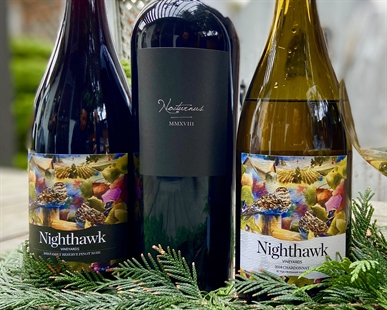 2018 Nighthawk Vineyards Pinot Noir (L-R) with the red blend Nocturnus and 2018 Chardonnay.