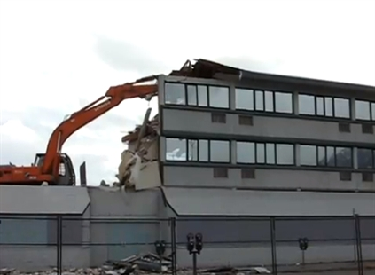 Screen shot of video showing demolition of the Willow Inn.