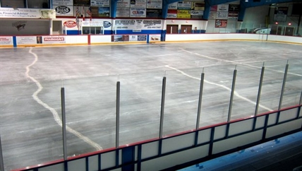 The cracking concrete slab under the ice at the Sun Bow Arena in Osoyoos.