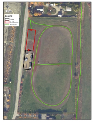 The red section will be the new area of Mutrie Dog Park in Vernon which will welcome small dogs.