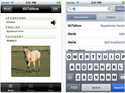 Screen shots from the recently released Secwepemc language app available for iPhones, iPads and iPods.