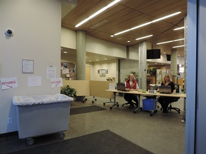 The Vernon library is open, but all the services are being offered on the second floor as the main floor undergoes major restoration work following the flood in Febuary.