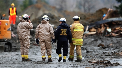 Rescue workers and work crews toil at the western edge of the mudslide where it covers Highway 530 east of Oso, Wash. Wednesday, March 26, 2013.