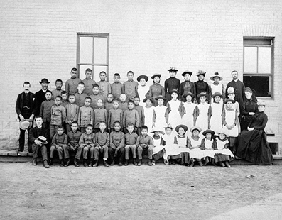 Residential School photo taken at St. Paul's Indian Industrial School, Middlechurch, Manitoba in 1901.