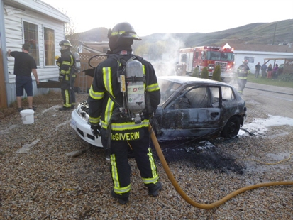 Firefighters doused this car fire on Tronson Road earlier in the week.