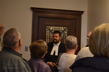 Dustin Griffin gives a tour of the Vernon Courthouse.