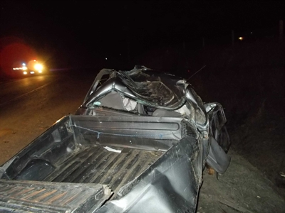 The Ford Ranger was crushed in the collision.