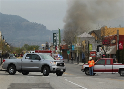 A fire destroyed a home just of Main Street in Oliver on Monday, April 21, 2014.