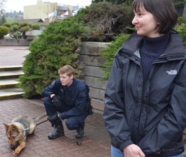 Sherri Funfer won a day with the police dog unit as part of a fundraiser last November.