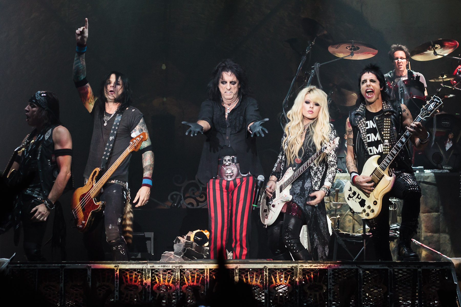 alice cooper and his band performing live during halloween night of horror at wembley arena in london england on oct 28 2012