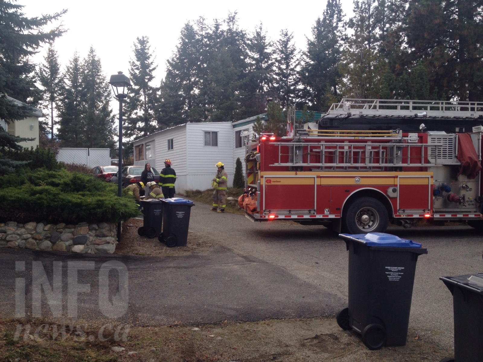 Kelowna Firefighters On The Scene Of A Trailer Fire At Lake City Mobile Home Park In 3500 Block McCulloch Road Friday Nov 18 2016